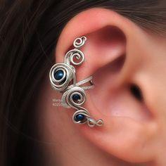 5c3423eea5af No piercing Cartilage Ear Cuff Petrol Swarovski pearls in Silver Fairy  Curls of Magic conch cuff fake faux piercing  ear manschette  ohrclip