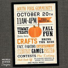 FALL FESTIVAL POSTER - Community - School Pumpkin Patch - Halloween - Printable