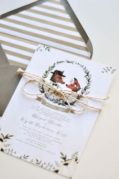 Foxy Love by Huckleberry Paper Unique hand-painted wedding invitations and announcements. Wedding Ideas 2017 - Wedding Trends 2017. #watercolor #woodland #bridetobe #fox #foxes #customwedding #WeddingIdeas2017 #weddingtrends #weddingcolors #whimsical #trendy #fun #bride #love #huckleberrypaper