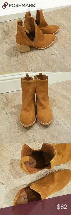 Jeffrey Campbell Orwell suede booties Excellent condition! A split shaft updates these suede Jeffrey Campbell booties. Brushed metallic heel and rubber sole.  Leather: Cowhide. Heel: 2.75in / 70mm Jeffrey Campbell Shoes Ankle Boots & Booties