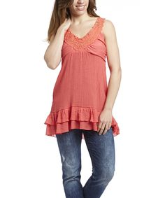 Look at this #zulilyfind! Simply Irresistible Coral Crochet Sleeveless Top by Simply Irresistible #zulilyfinds