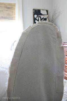 DIY slipcovered sleigh bed - Crazy Wonderful Leather Sleigh Bed, Wood Sleigh Bed, Sleigh Bed Frame, Sleigh Beds, Upholstered Beds, Modern Bathroom Design, Guest Bedrooms, Dark Wood, Slipcovers