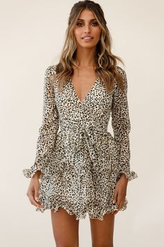 Order the Greta Tiered Ruffle Chiffon Dress Animal Print Beige only at Selfie Leslie! Chiffon Dress Long, Chiffon Ruffle, Chiffon Fabric, Sweet 16 Dresses, Cute Dresses, Short Dresses, Fall Dresses, Animal Print Dress Outfits, Pastel Floral Dress
