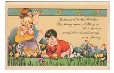 Vintage Easter Card Children and Chicks 1920s