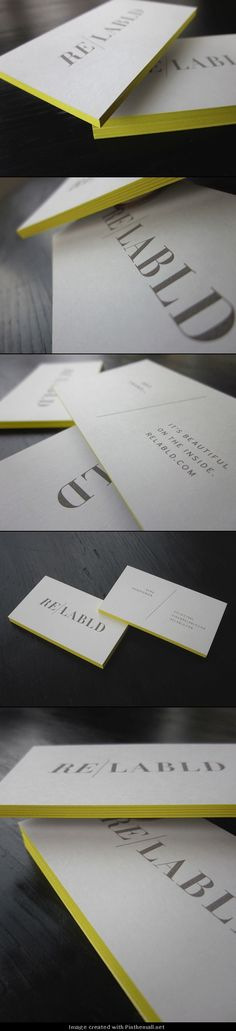Cards include engraving on logo and informational text, duplexing of paper stock to and edge painting yellow. Brand Identity Design, Graphic Design Branding, Corporate Design, Corporate Identity, Brand Design, Cool Business Cards, Business Card Logo, Business Card Design, Printing And Binding