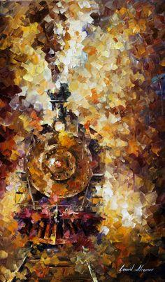 TRAIN OF HAPPINESS - Pintura al oleo de Leonid Afremov. Sólo hoy - 109$. Envío gratis https://afremov.com/TRAIN-OF-HAPPINESS-PALETTE-KNIFE-Oil-Painting-On-Canvas-By-Leonid-Afremov-20-x30.html?bid=1&partner=20921&utm_medium=/offer&utm_campaign=v-ADD-YOUR&utm_source=s-offer