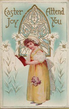 Pin by jo keene on sanctuary silence pinterest vintage easter girl church window greetings postcard card victorian embossed ebay m4hsunfo
