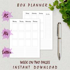 Printable Planner Inserts, BOX PLANNER: A5, US Letter Size, A4, Weekly Planner, Week on 2 Pages, Stickers, Full Box Size, Filofax, Kikki K