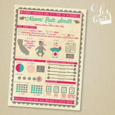 Baby Girl Infographic Birth Announcement by lizcarverdesign, $3.00