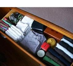 File clothes in drawers to save space