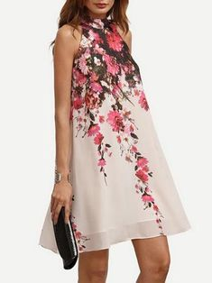 Chiffon Floral Printed A-line Sleeveless Mini Dress