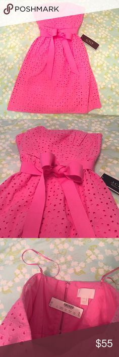 NWT J.CREW PINK EYELET DRESS Adorable pink eyelet dress! Bow can be tied in the front or back. Never worn! NWT! J. Crew Dresses