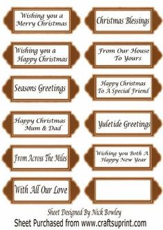 Various christmas and seasonal sentiments on brown tags on Craftsuprint - Add To Basket!
