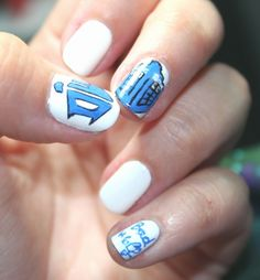 nail art doctor who. May have to do this when my nails are longer or with fakes.