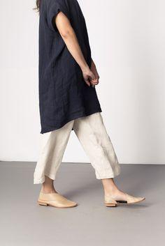 Georgia Dress Navy Linen