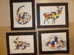 Piet Mondrian Animals...3rd grade