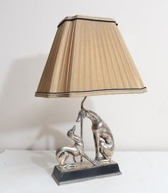 Mid-Century Silver Whippet Dogs Lamp with Custom Shade