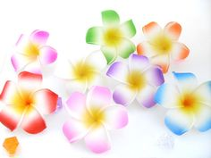 20pcs Artificial Hawaiian Plumeria Frangipani PE Flower Heads Floral Crafts A38