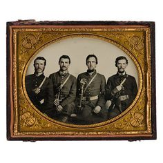 Spectacular Half Plate Ruby Ambrotype of Four Kentucky Confederate Cavalrymen