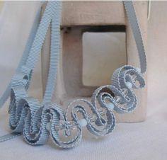 Palest blue grey grosgrain necklace with clear por CarolynWaweru, $200.00
