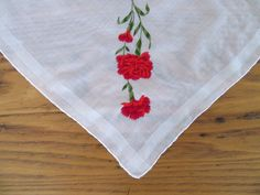 Vintage Handkerchief, Red Carnations, Hand Rolled Edge, Unused, Red Carnation Hankie, Embroidered Hankie, Vintage Hankie, Valentine's Day by leckaleigh on Etsy