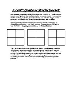 This is to accompany and explain how I use the modified Socratic Seminar graphic organizer and script in my classroom.