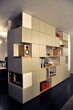 Handsome room divider/storage unit in Central Park West apartment, MADE Architects, NYC Basement Storage Shelves, Living Room Shelves, Wall Storage, Central Park, Room Divider Bookcase, Divider Cabinet, Bookshelves, Cubes, Room Deviders