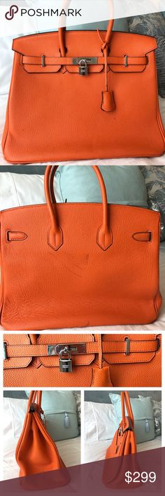 Hermes Birkin Dupe Bag Purse Tote Haute Hermes Duplicate Birkin Bag;Hermes logo stamped on leather correct place &Hermes logo on hardware correct place;Orange Leather&Silver Hardware;Working Lock & Key Set (keys included, so fun!);14 in lengthX11.5 in tall X7 in wide;Purchased$550 last yr;Not authentic(bc who can afford a 10k bag?!) 🤑Front has one small pen mark, Back has 3 black marks,One side panel perfect,One side panel multiple tiny marks;Missing 1 foot peg(3 are included&plastic…