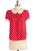 Mod Cloth Red Polka Dot Blouse $34.99