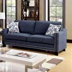 Furniture of America Polin Studded Chenille Sofa with Pillows