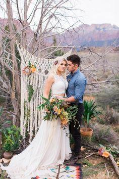 Flowing two-piece bridal ensemble, vibrant succulents, & macrame textures | Image by M. Felt Photography