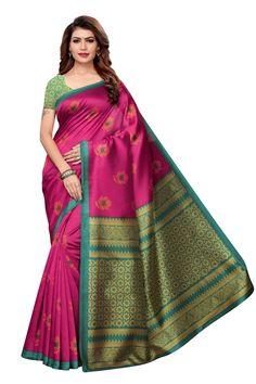 sweetiepie fashion Pink Mysore Silk Printed saree