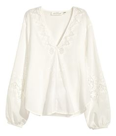 ee79de5b6c9 Check this out! Wide V-neck blouse in airy cotton with broderie anglaise