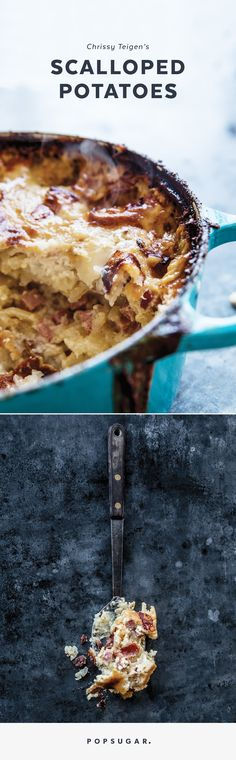 Chrissy Teigen shared her beloved scalloped potatoes recipe with us, and we're beyond excited to make it for Thanksgiving this year. Chrissy Teigen Cookbook, Chrissy Teigen Recipes, Quinoa, Slow Cooker, Scalloped Potato Recipes, Popsugar Food, Comfort Food, Food To Make, Yummy Food