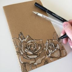 I think I prefer drawing on my notebooks rather than in them... #art #drawing #pen #sketch #illustration #linedrawing #rose #roses #flowers #moleskine #moleskinenotebook #notebook