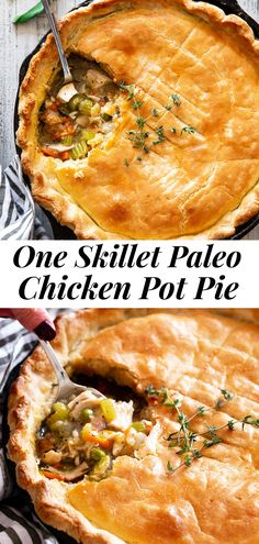 "This one skillet chicken pot pie is easy to throw together and the perfect cozy comfort food for cold winter nights. A creamy chicken and veggie gravy is topped with a flaky, ""buttery"" grain free crust that will impress even the pickiest eaters! It's gluten free, grain free and paleo with a dairy free option. #paleo #cleaneating #glutenfree #comfortfood #healthy"