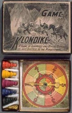 'Game of the Klondike' 1897 board game based on popular perceptions of the gold rush. Old Board Games, Vintage Board Games, Game Boards, Man Games, Games To Play, Antique Toys, Vintage Toys, Board Game Design, Gambling Games