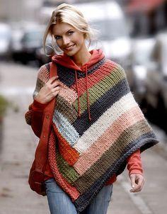 Ideia para um poncho de tricô listrado