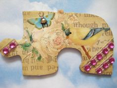 Altered Puzzle Piece for Sheryl Puzzle Piece Crafts, Puzzle Art, Puzzle Pieces, Puzzle Jewelry, Arts And Crafts, Paper Crafts, Shape Puzzles, Expressive Art, Game Pieces