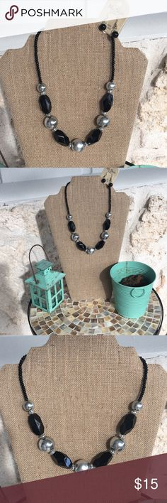 "Lovely Silver and black necklace and earring set Lovely silver and black bobble necklace and drop earring set. NWT - Adjustable 18"" to 21"" lobster claw closure necklace and earrings drop approx 1.5"" Great for evening, office or event wear!! Lead and nickel free! ✅I ship same or next day ✅Bundle for discount Jewelry Necklaces"