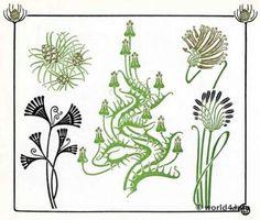 art nouveau pattern, thistle