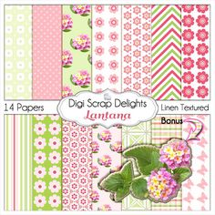 Lantana Pink and Green Digital Papers