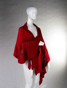 Red Wrap Woolen Shawl Mother's Day Xmas by deliriumkredens on Etsy