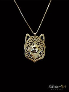 Shiba inu necklace - Gold vermeil (18k gold plated sterling silver) pendant and necklace. on Etsy, $120.00