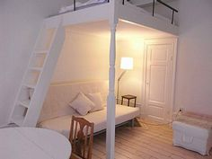 loft bed with wood ladder