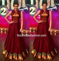 Priyamani in AanDe Indo-Western Gown – South India Fashion Saree Gown, Sari Dress, Anarkali Dress, Anarkali Suits, Saree Blouse, Lehenga Designs, Kurti Designs Party Wear, Long Gown Dress, The Dress