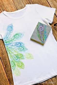 Strut your stuff in this block-printed peacock tee! Just trace your design into a mounted linoleum block before carving and stamping.