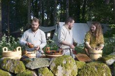 Washing up while enjoying a lovely view. Borre, 2014. Vikingsnitt.