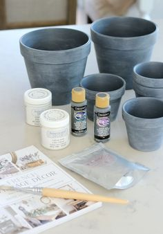 Concrete Painted Pots & French Vintage Decor Book - Concrete Painted Pots & French Vintage Decor Book – Satori Design for Living The Effective Pictur - Painted Clay Pots, Painted Flower Pots, Concrete Pots, Concrete Projects, Concrete Finishes, Diy Projects, Clay Pot Crafts, Home Crafts, Cement Crafts