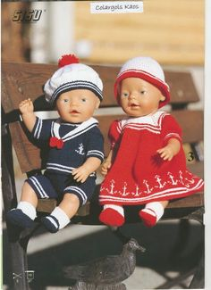Bilde: Baby Born Clothes, Girl Doll Clothes, Girl Dolls, American Girl Outfits, Doll Patterns Free, Doll Clothes Patterns, Crochet Doll Dress, Knitted Dolls, Baby Born Kleidung